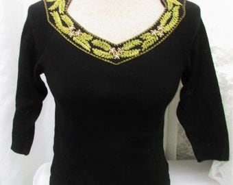 Vintage 1940's 50's Sweater Black Wool Knit Fitted Cropped with Gold Thread & Bead Embroidered Neck ~ Made in Austria for The Dayton Company