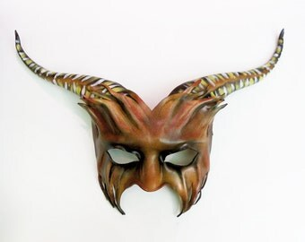 Leather Goat or Bull Mask with longgg stripey horns  lightweight and easy to wear with heavy elastic straps