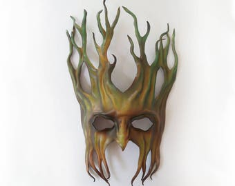 "Tree Leather Mask  greenman forest green man Ent Groot Treebeard 15 1/2"" tall"