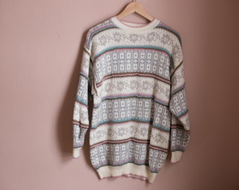 Vintage 90s Oversized Pastel Abstract Pattern // Sparkly Metallic VTG Sweater //Ugly Jumper