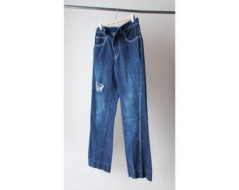 1970s Sasson Paris High Waist Destroyed Jeans