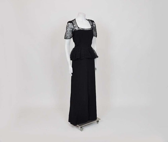 1930s dress / Swoon Sister / Vintage 30's Dress / Lace Crepe Peplum Gown