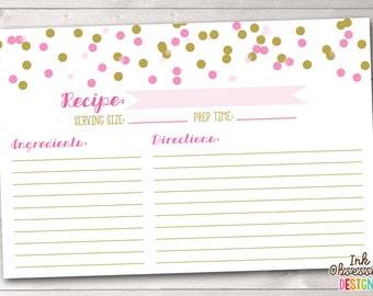 Pink & Gold Printable Recipe Cards PDF