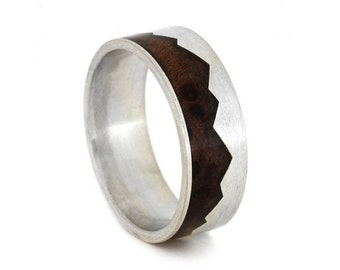 Mountain Ring with Natural Redwood, Sterling Silver Wedding Band, New Ring Design