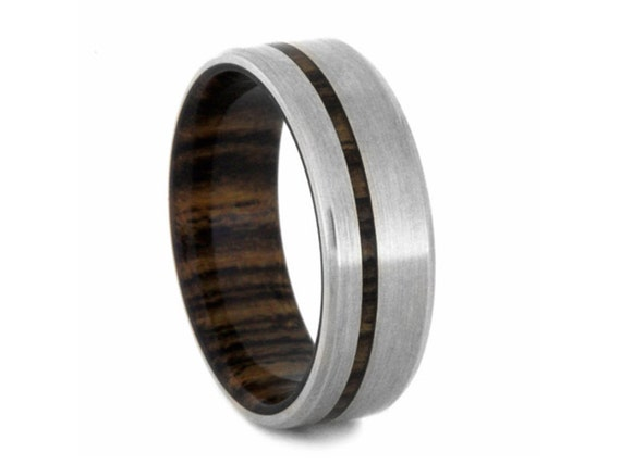 14k white gold wedding band mens wood ring with beveled