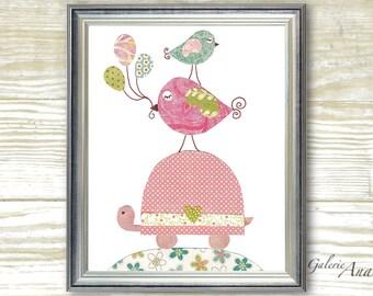 Nursery Art, Baby Room Decor, art for children, kids room art, nursery turtle, nursery Birds ,Balloons, A Special Day 8x10 print