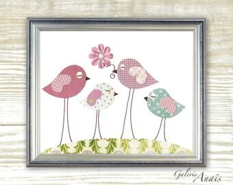 Nursery art prints - baby nursery decor - nursery art - kids room decor - nursery girl - birds nursery - Pink - Sisterhood print