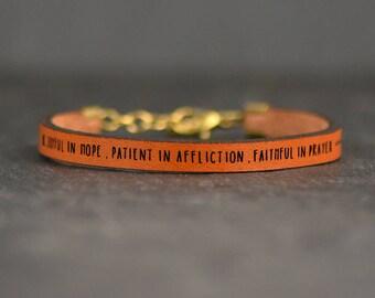romans 12 leather bracelet | be joyful in hope | romans 12 jewelry | engraved scripture | gift for mentor | baptism gift | christian gift