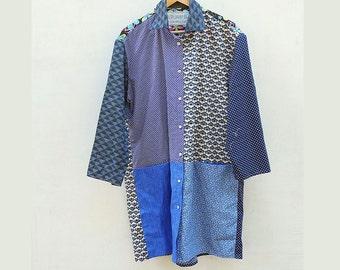 big Boyfriend Style Tunic  - Funky Versatile Upcycled Men's Shirt creation - Patchwork Fashion