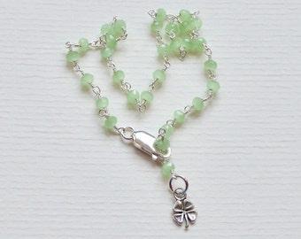 Four Leaf Clover Ankle Bracelet - Prehnite Gemstone and Sterling Silver Rosary Chain Ankle Bracelet - Shamrock Green Gemstone Anklet