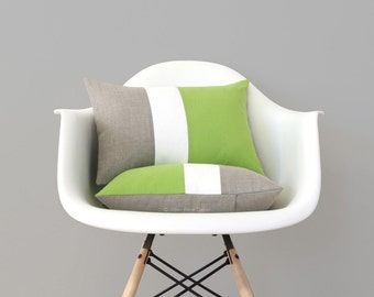 Lime Linen Color Block Cushion Cover with Cream Stripe (Set of 2) by JillianReneDecor, Modern Home Decor, Bright Green, Apple, Greenery