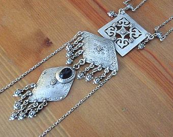 Long ethnic necklace, silver bib necklace, tribal necklace, statement necklace, gypsy jewelry, boho metal jewelry,