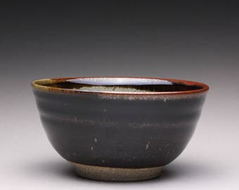 handmade pottery bowl, ceramic serving bowl, medium stoneware bowl with black tenmoku and green celadon glazes