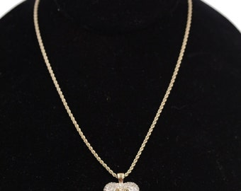 VALENTINO Vintage Gold Metal CHAIN NECKLACE with Rhinestones heart pendant