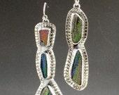 RESERVED Rainbow Druzy Earrings, asymmertrical earrings, druzy earrings, sterling silver, multi stone earrings