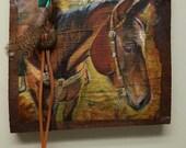 Western Horse Art Print, Custom Horse, Barnwood Sign, Wood Horse Sign, Western Art,