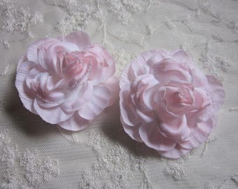 SALE  Cabbage Rose Fabric Flower Applique 2pc PINK Crinkle Victorian Hat Corsage