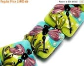 ON SALE 50% OFF Four Purple Dragonfly Pillow Beads 10504414 - Handmade Lampwork Glass Bead Set
