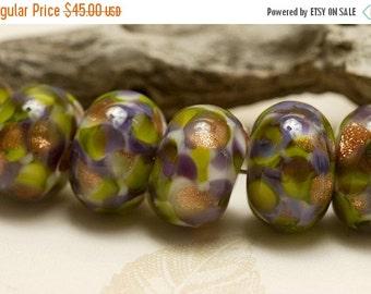ON SALE 45% OFF Seven Wisteria Garden Rondelle Beads - Handmade Glass Lampwork Bead Set 10603401