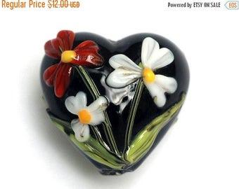 ON SALE 40% OFF Maria's Bouquet Heart Focal Bead - Handmade Glass Lampwork Bead 11833305