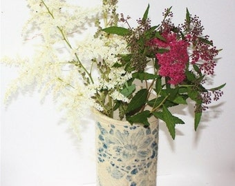 Wall Vase Planter in Stoneware   Lace Embossed with Flower  Blue and Creamy White