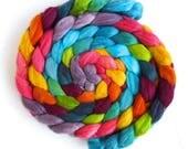 Polwarth/Silk Roving - Handpainted Spinning or Felting Fiber, Scottish Landscape