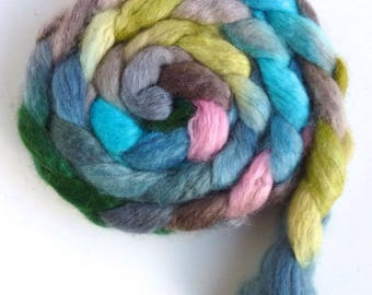Blueface Leicester/ Tussah Silk Roving (Top) - Handpainted Spinning or Felting Fiber, Near and Far