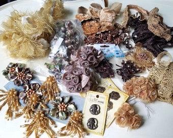Taupe Chocolate Gold Craft Embellishments, Roses, Hobbies, Crafts, Vintage Velvet