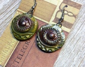 Viking Mojo Tribal Moss Green Gold Rust  Saffron Handmade Raku Cosplay Earrings