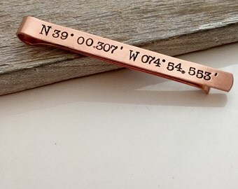 Personalized Copper Tie Clip - Men's Tie Bar - Custom Coordinates Tie Clip - Location - Copper Tie Bar - Valentine's  gift for him