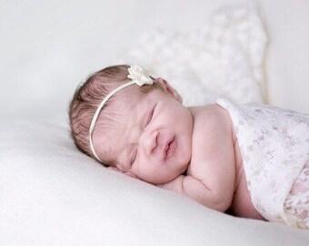 mini satin flower with rhinestone on thin soft stretch headband newborn to 6 years