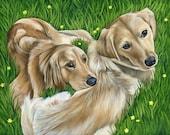 12 x 16 Three pet Portrait Painting