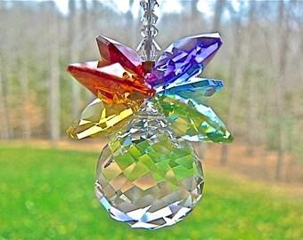 "Swarovski Pineapple Window Rainbow Maker, Suncatcher, Swarovski Crystal Ball Prism with Rainbow Colored Cluster - ""OLIVIA"""