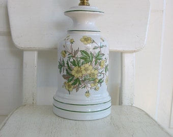 Vintage White Lamp, Flower Lamp, Botanical Lamp, Yellow Lamp, Plant Lamp, Vintage Floral Lamp