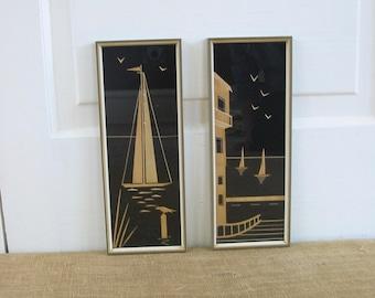 Vintage Nautical Art, Black Wood, Sixties Wall Hanging, Sailboat Art, Vintage Wood Sailboat Art, Wood Nautical Art, Vintage German Art
