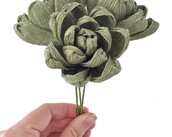 Succulent stem: Handmade Crepe Paper Flower