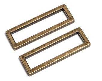 "100pcs - 2"" (50mm) Flat Zinc Square Ring - Antique Brass - (FSR-122) - Free Shipping"