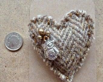 Teeny Tiny Owl Brooch made using Harris Tweed.