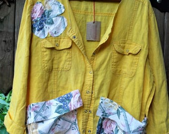 Linen Cotton Garden Smock/ Sunshine Yellow Summer Smock/ 1X Roll Sleeve Flower Appliqued Shirt/ Sheerfab Funwear