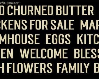 Simple Farmhouse Words  Primitive Stencil 7 mil Transparent Blue Mylar Reusable