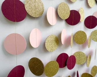Gold Glitter, Blush Pink and Burgundy Dot Garland, Party Decoration, Bridal Shower Decor, Wedding Decoration, Circle Garland