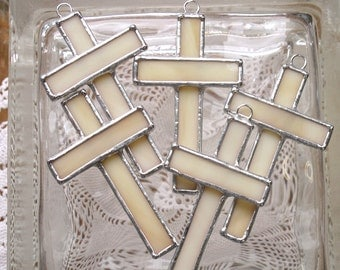 Small Stained Glass Cross Suncatcher/Ornament in Cream