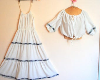 Boho vintage 70s, crisp white, soft cotton, peasant style set: summer dress and cropped top. Made by Caron. Size M.