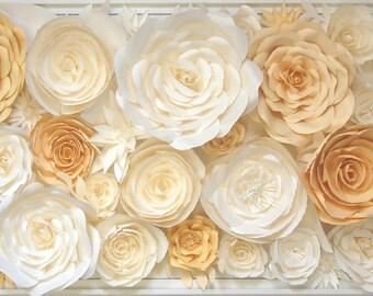 Flower Wall Sculpture - White Butter Yellow Flower 3D Wall Decoration Wedding Backdrop