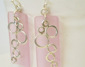 Long Pink Earrings, Pale Pink Sea Glass Earrings, Sterling Silver Earrings, Sterling Dangles, Geometric Jewelry, Blush Jewelry, Gift for Her