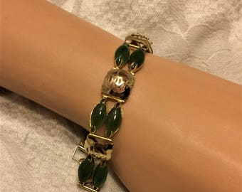 Vintage Jade or Similar Stone Bracelet with Marquise Stone Links Alternating with Asian Script Designed Links with a Foldover Clasp. (D12)