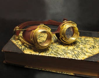 Brass and Leather Steampunk Goggles Motorcycle Cosplay LARP