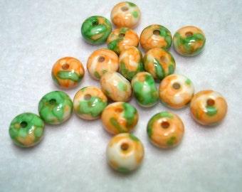 Ocean White Jade Orange Green Abacus Beads (Qty 19) - B3257