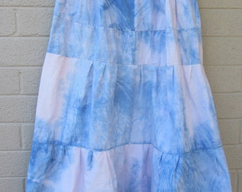 womens plus size tie dye Hippie skirt white and blue tall and large