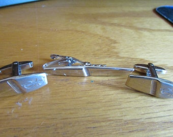 diamond etched cuff links tie clip